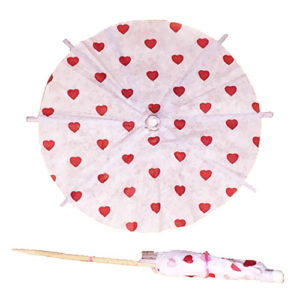 Valentine Red Hearts Cocktail Umbrellas